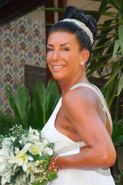Karen wearing a Bespoke Bridal Diamante Headpiece