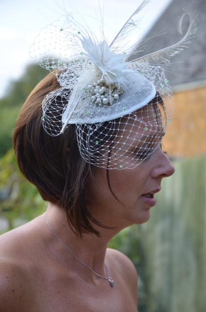 Victoria wearing a Bespoke Birdcage Veil